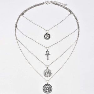 Jewelry - Multilayer Silver Cross, Coins, & Disk Necklace
